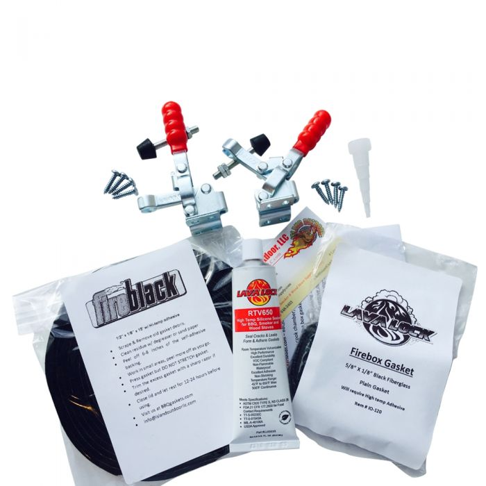 Oklahoma Joe LONGHORN all BLACK w/ RTV Gasket & Latch Mod Kit by FireBlack®