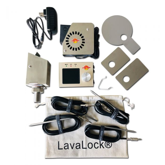 LavaLockⓇ 4 probe Automatic BBQ Controller w/ 35 cfm variable speed fan for sm & med smoker pits