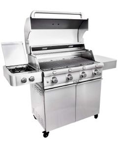 SABER 4-Burner Freestanding Infrared Grill with Side Burner, 40-Inches, Natural Gas
